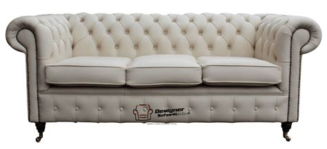 3 seater cream leather sofa chesterfield essex 3 seater sofa settee cream leather ebay