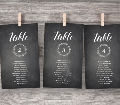table plan cards template chalkboard wedding seating chart printable hanging