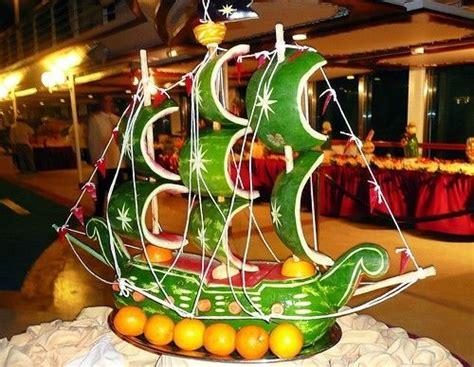 design art and food fruit carving vegetable carving watermelon ship get