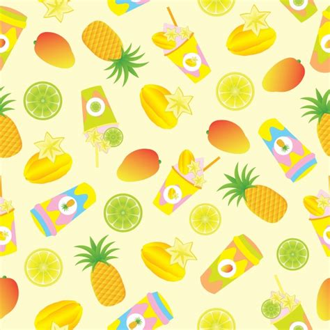juice pattern vector tropical fruit and juice pattern background vector free