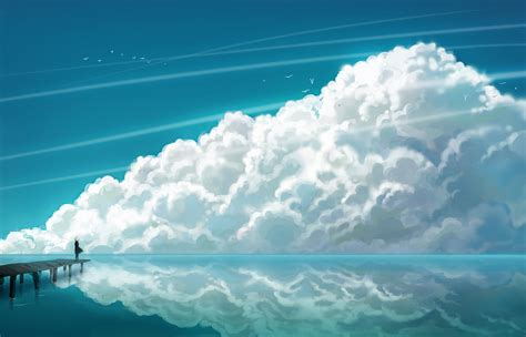 wallpaper anime ocean water blue clouds nature anime multiscreen skyscapes