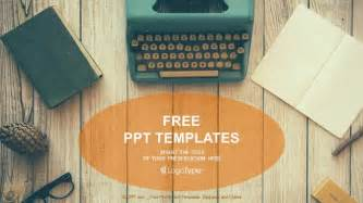 Woodworking Templates Free by Vintage Typewriter On Wooden Table Powerpoint Templates