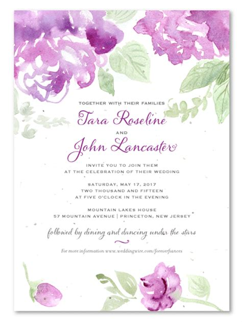purple flower wedding invitations on seeded paper antique blooms by foreverfiances