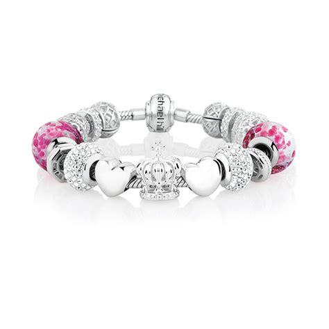 pink glass sterling silver starter charm bracelet