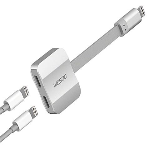 wesoo dual port adapter splitter headphone audio charge adapter compatible with iphone 7 7