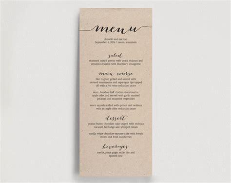 Diy Wedding Reception Menu Card Template by Printable Wedding Menu Template Dinner Menu Printable