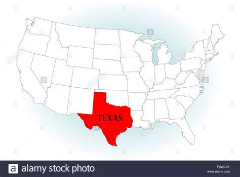 texas in map of usa an outline map of the united states of america with texas highlighted stock photo royalty free