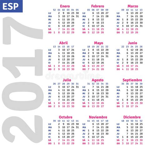 grid pattern en espanol spanish calendar 2017 stock vector image of number month