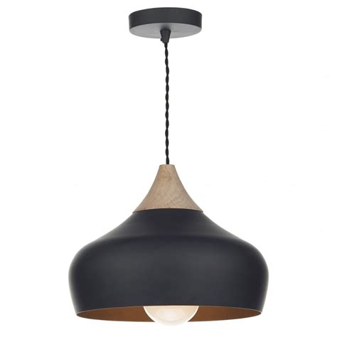 Pendant Lighting Contemporary Design Matt Black Ceiling Pendant Light With Wood Detail