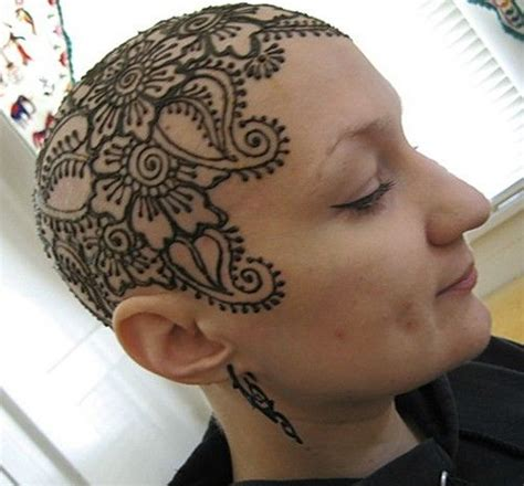 henna head tattoo henna beautiful bald
