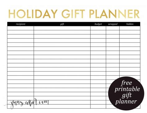 free printable gift list template 5 best images of gift planner printable