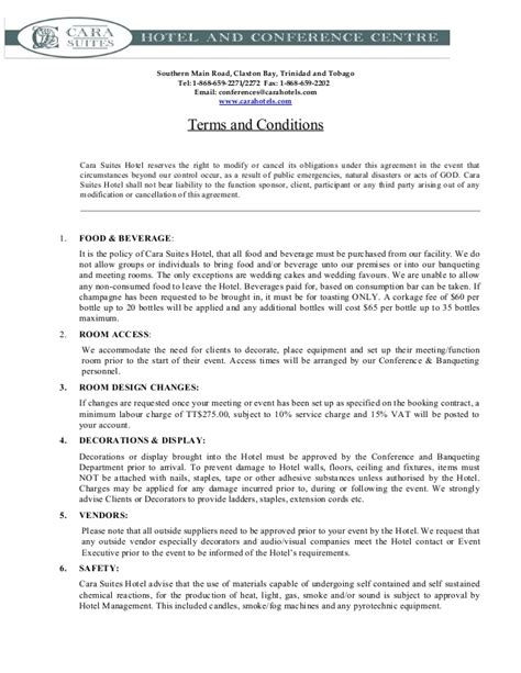 terms and conditions template gt gt 19 nice booking terms