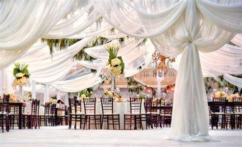 Ceiling Decor for a Wedding Reception :: Draped Fabric