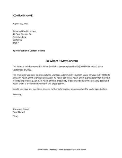 doc600730 sample income verification letter cover letter business