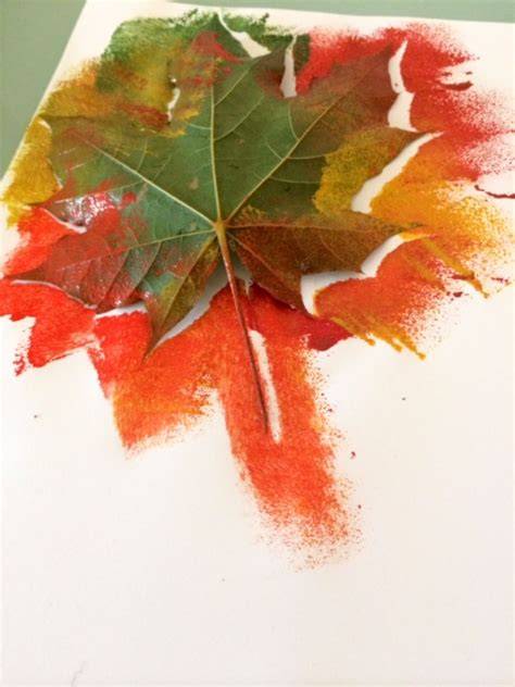 preschool painting with leaves autumn leaf painting craft ideas for kids