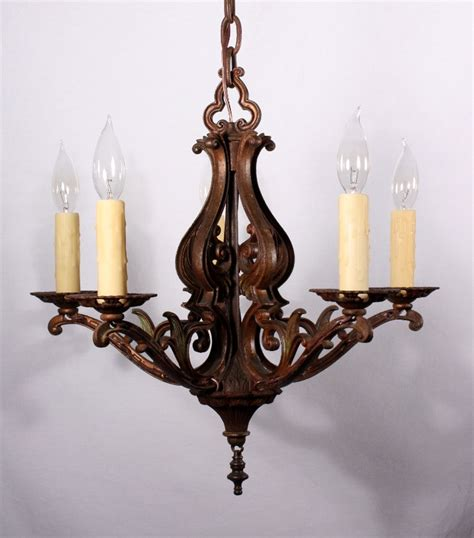 Cast Iron Lighting by Graceful Antique Five Light Nouveau Chandelier Cast