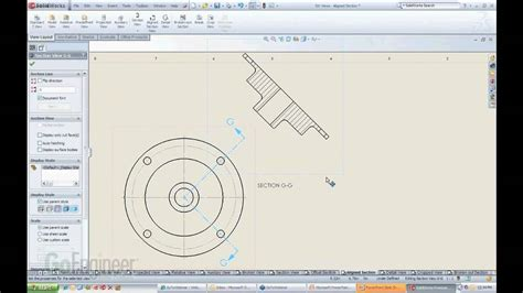 solidworks section view solidworks aligned section views youtube