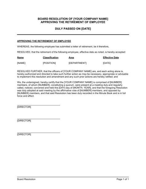 Board Resolution Approving The Retirement Of Employee Template Sle Form Biztree Com Board Resolution Template