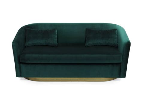 green sofa two seaters in velvet with high gloss