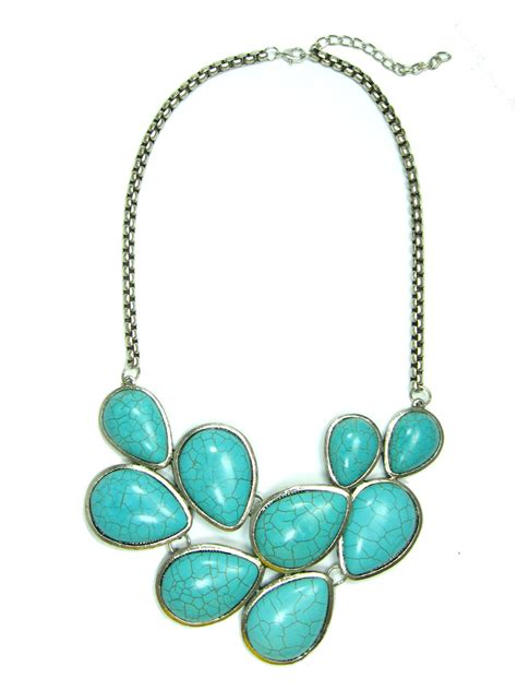 turquoise stone necklace turquoise teardrop stone tibetan silver statement bib necklace