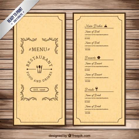 vintage menu template vector free download
