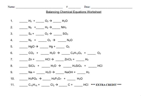 Balancing Chemical Equations Worksheet Middle School by Balancing Equations Worksheets Middle School Balancing