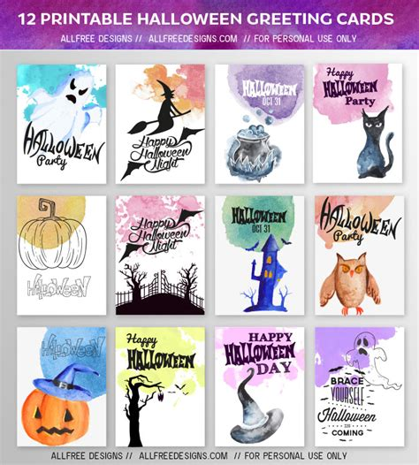 printable halloween note cards halloween greeting cards 12 high quality printable designs