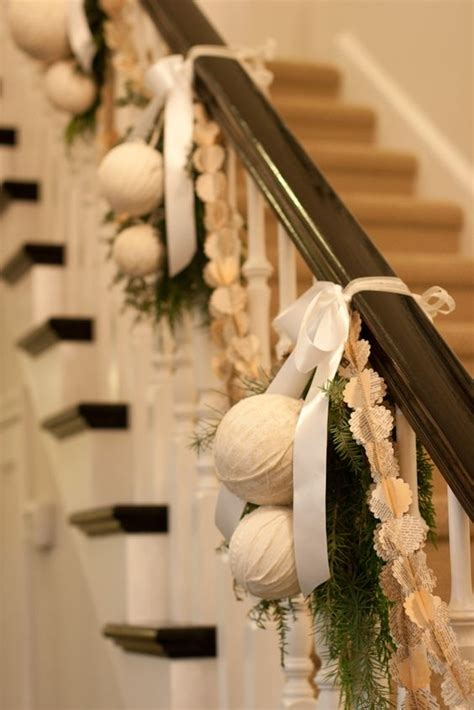garland on banister 37 beautiful christmas staircase d 233 cor ideas to try digsdigs