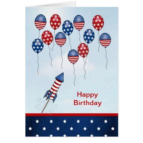 Happy Birthday 4th July Cards Birthday 4th Of July Stars Stripes Balloons Card Zazzle