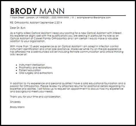 Orthodontic Assistant Cover Letter Sample Livecareer