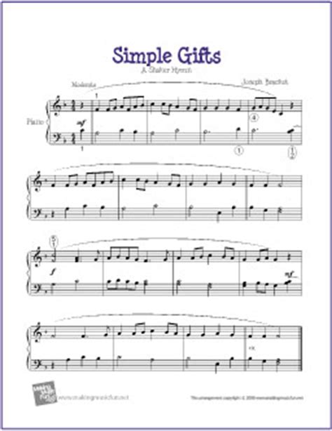 The Gift Piano Letter Notes Simple Gifts Free Easy Piano Sheet