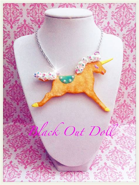etsy blackout doll cookie unicorn decora kei necklace by