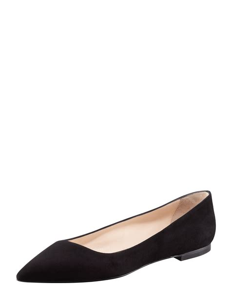 black flat pointed toe shoes giorgio armani suede pointed toe ballerina flat in black