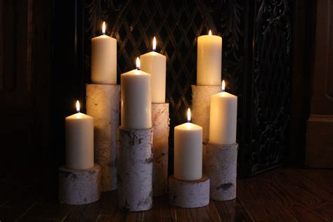 candle fireplace insert birch pillar candle holders fireplace decor by