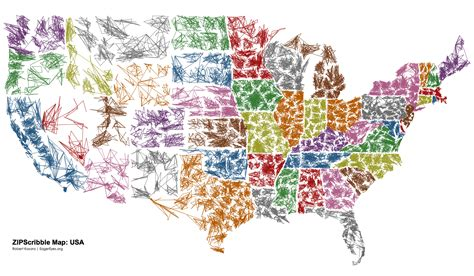 cool usa map the us zipscribble map