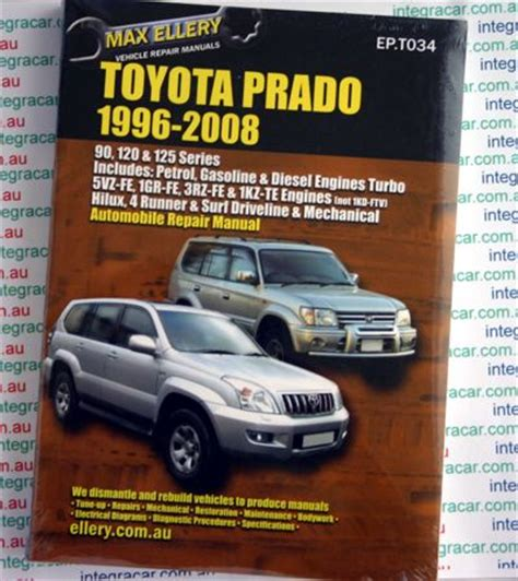 online car repair manuals free 1996 toyota land cruiser security system toyota prado 1996 2008 ellery repair manual new sagin workshop car manuals repair books