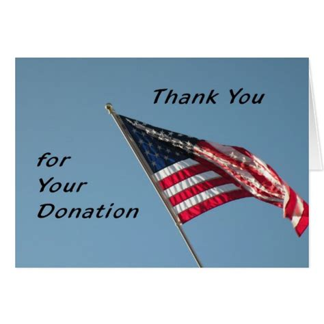 Thank You Letter For Flag Donation Thank You For Your Donation American Flag Greeting Card Zazzle