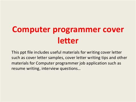 Numerical Tool Programmer Cover Letter by Computer Programmer Cover Letter