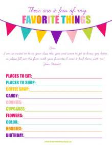 Favorite Things List Template by The Larson Lingo Back To School Printable