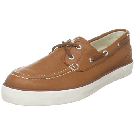 polo ralph mens sander boat shoe in brown for