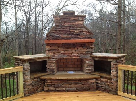 Outdoor Fireplace on Wood Deck with Deckorator Balusters