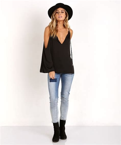 30382 Black Top l academie the v shoulder top black latw2950wh free shipping at largo drive