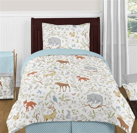 woodland twin bedding woodland animal toile 4pc twin boy or girl bedding set by sweet jojo designs only 119 99