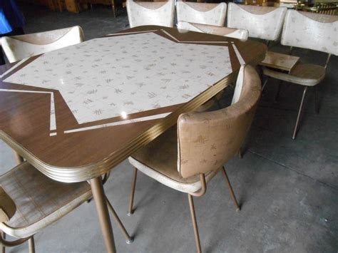 1950 s retro mid century kitchen table 8 chairs 2 leaves