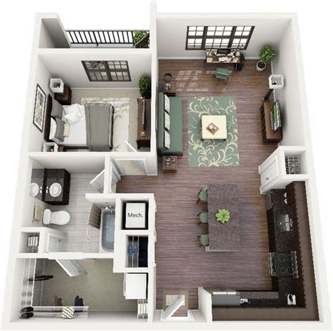 One Bedroom Apartment Floor Plans And Floor Plans On Home Design 3d Two Floors