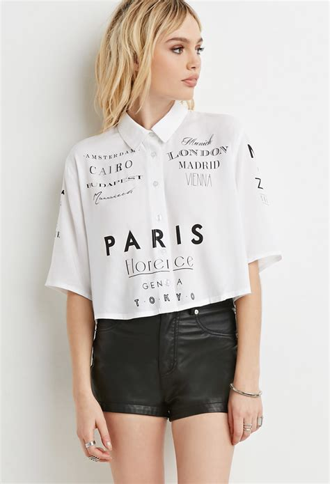 Shirt Blouse Graphis by Lyst Forever 21 Cities Graphic Shirt In Black