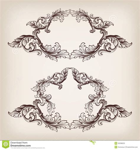 vintage frame pattern free vintage baroque scroll leaf set in engraving style cartoon