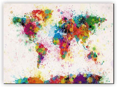 large paint splashes map   world canvas