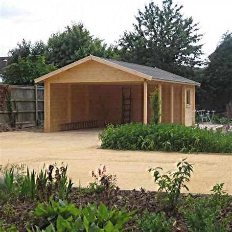 log cabin carport  storage shed