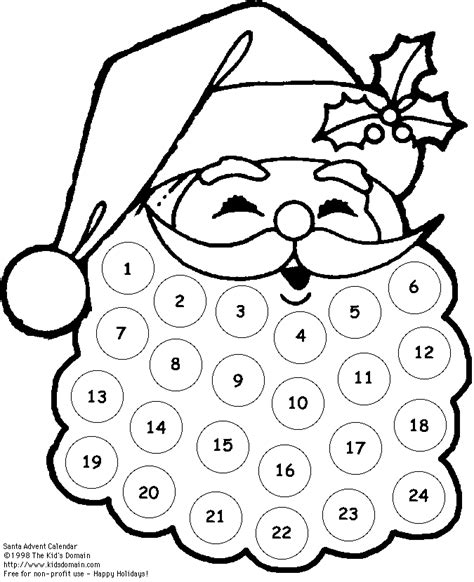printable santa claus advent calendar santa claus advent calendar